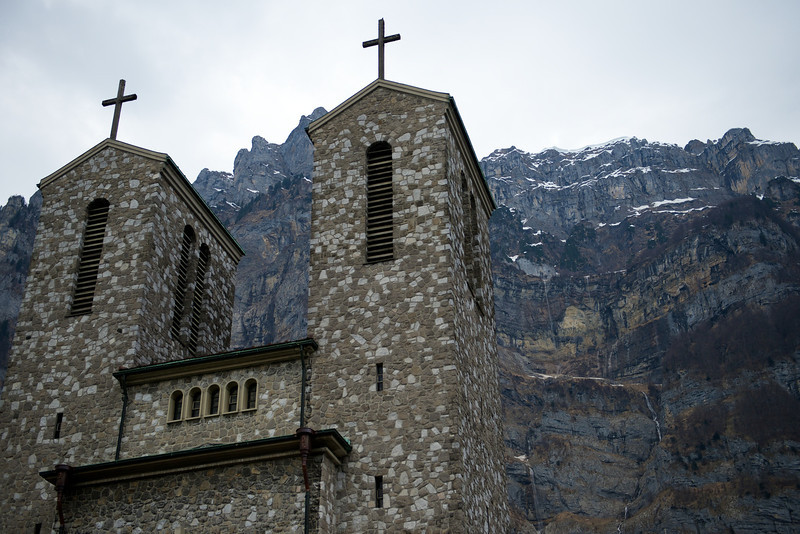 Here is the church in Netstal.  Note all of the waterfalls from the cliffs.  The snow is melting quickly now!