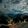 A 4 am full moon shot of the Braunwald church on the right and Linthal in the valley below.