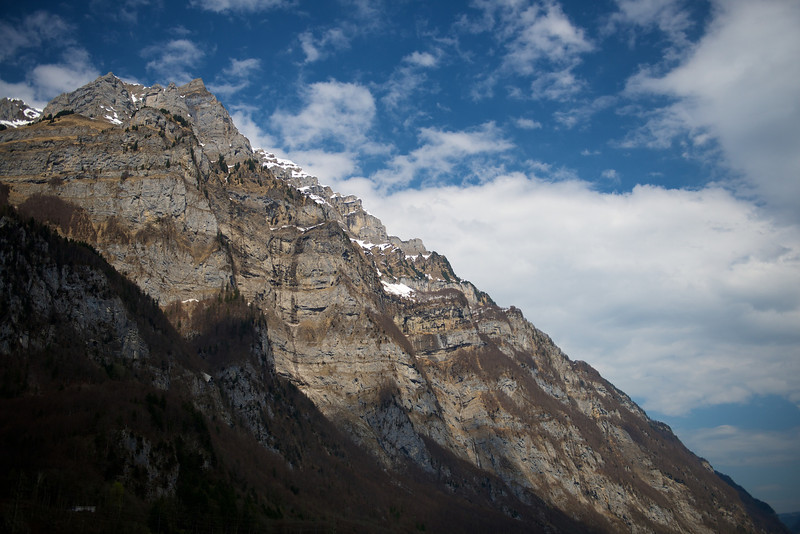 The cliff above Netstal seen from above Glarus.