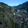 This is the village of Champery seen from the gondola.  Notice our gondola's shadow on the trees.