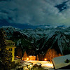 One night the full moon shown brightly on the Alps of Glarus Sud.