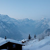 From my porch in Braunwald, a view of Linthal and the Glarus Alps.