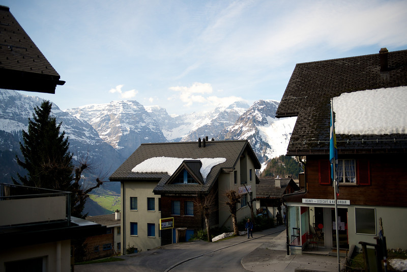 "Braunwald, where I'm staying, is a little town with no automobiles.  This is the ""city center"", a one block long shopping area with a grocery store, a bakery, a cafe, a ski shop, and a school."