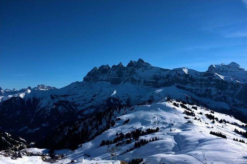 The Dents du Midi are a dramatic backdrop to Ports du Soliel above Champery.