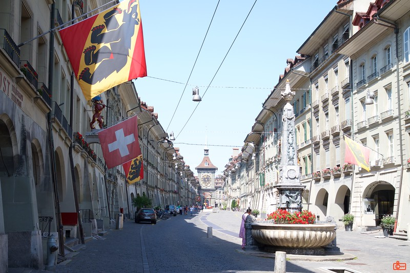 The Baroque facades along the Kramgasse ('Grocers Alley') in Bern. The Zytglogge (literally, 'time bell') is in the background.<br /> IMG_9390