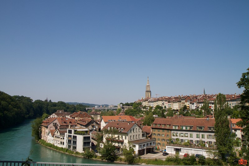 The city of Bern is the capital of Switzerland. The Old City seen here is nestled in a bend of the River Aare.<br /> IMG_9373