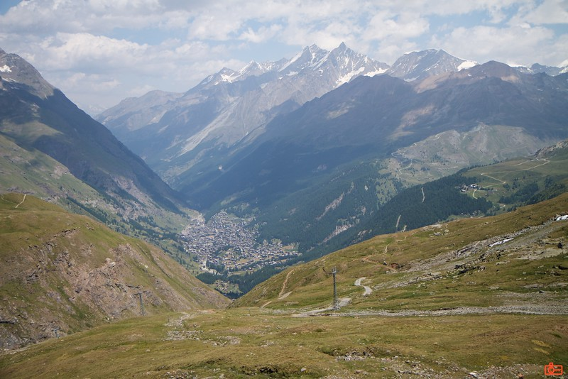Looking down on the town of Zermatt while descending from Trockener Steg.<br /> IMG_9674