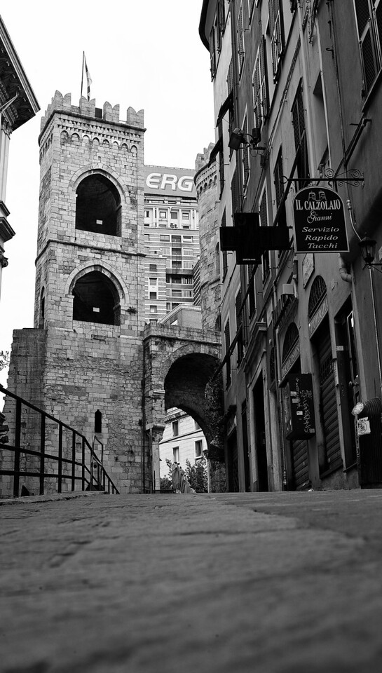 Part of the original medieval wall in Genoa, Italy—home of Christopher Columbus.