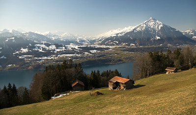 The view from Beatenberg, just west of the Niederhorn cable car, looking towards Lake Thun.