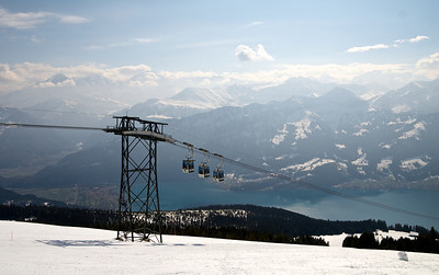 The Niederhorn cable  car, with Lake Thun in the background.