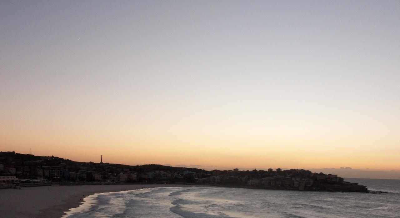 Bondi Beach at sunset as seen from my apartment.