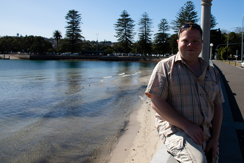 Carl chilling at Rose Bay before taking the ferry into the city.