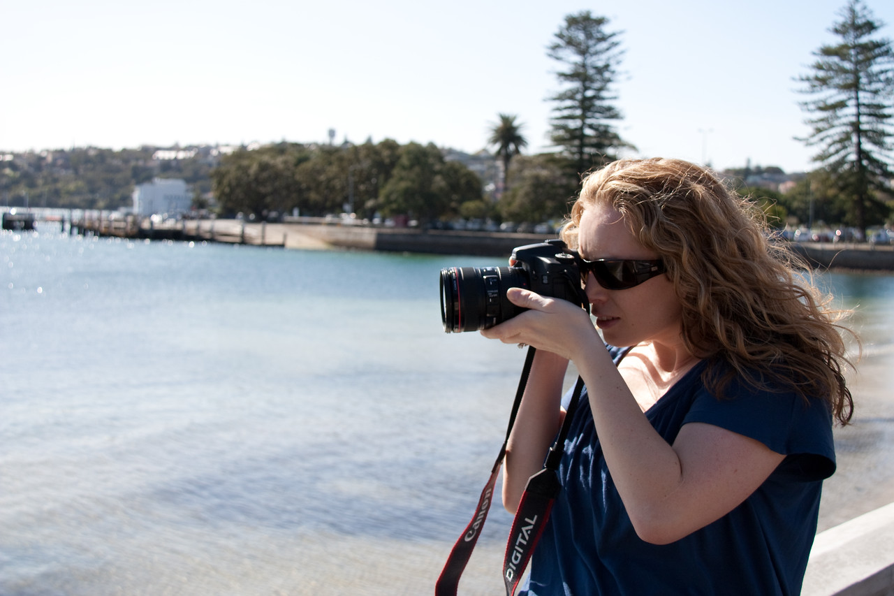 Clodagh taking pictures at Rose Bay.