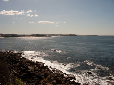 A view of Manly Beach from a distance -- photo taken from the rocks somewhere past Manly Cove.