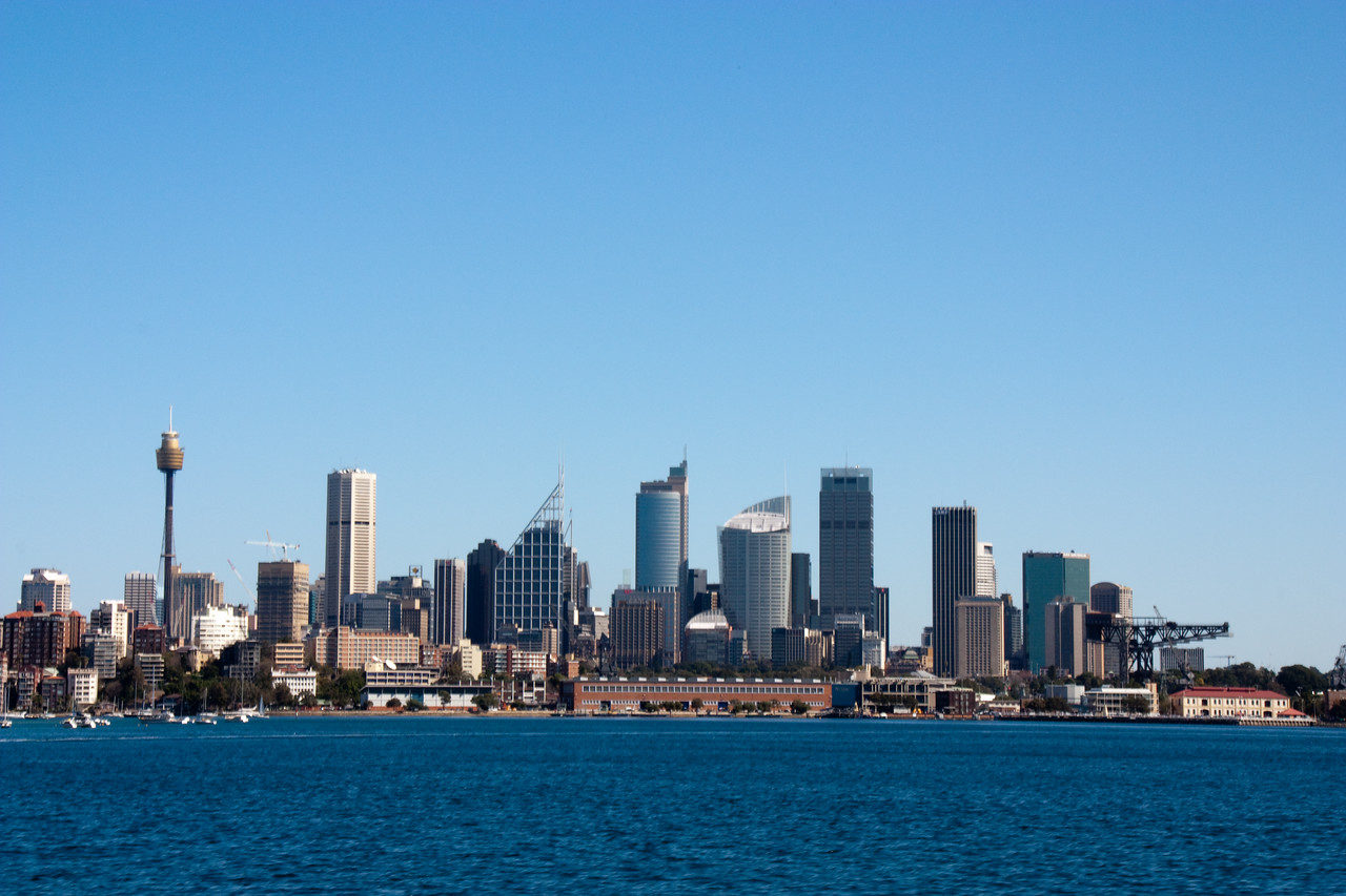 Sydney city skyline as seen from the ferry from Rose Bay.
