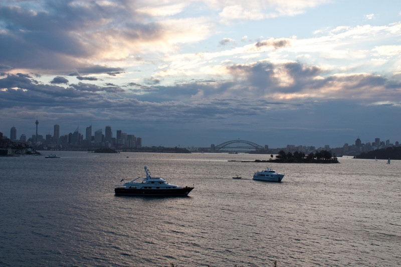 View from Queens Beach of the Harbour Bridge and Sydney skyline on the first night in Aus.