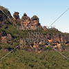 The Three Sisters rock formation in the Blue Mountains of New South Wales, Australia.