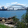 Harbour Bridge and the Opera House in Sydney, Australia.