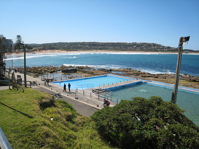 Swimming pools cut out of the rock foreshore at Dee Why.
