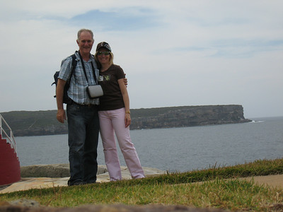 At South Head.  Set the timer on the camera and run over to pose.
