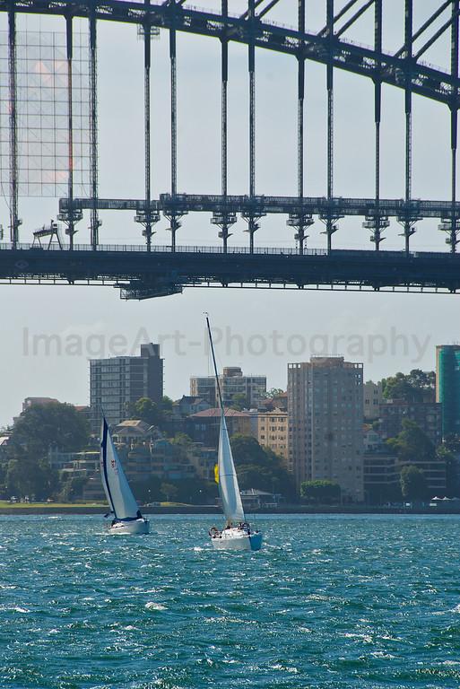 Sailing under Sydney Harbour Bridge