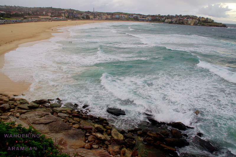 A decidedly gray and quiet day on Bondi Beach