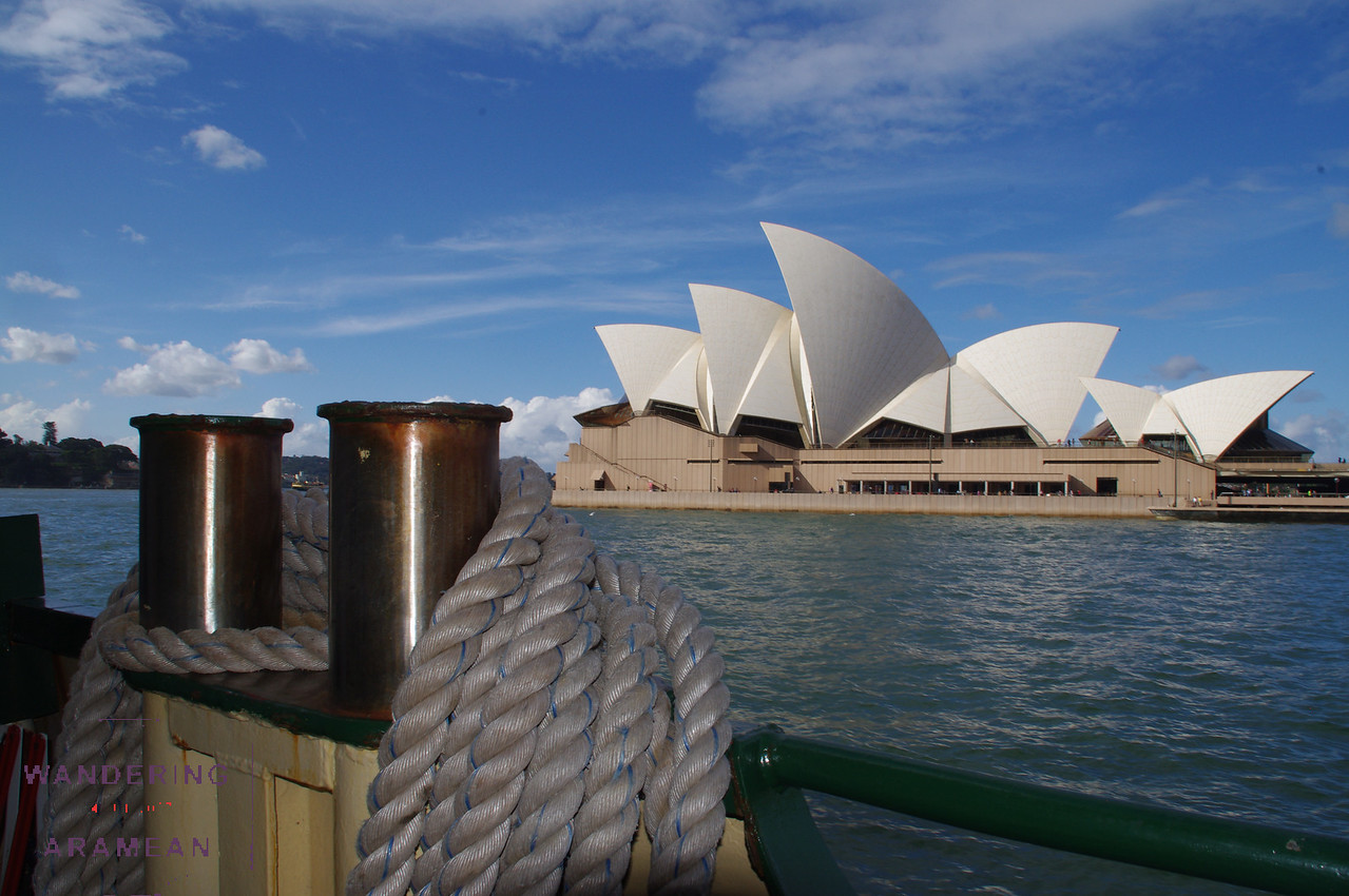 The opera house as seen from the ferry coming back in to dock.