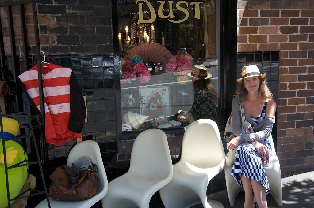 Brydie outside Dust antique shop<br /> Darlinghurst Sydney