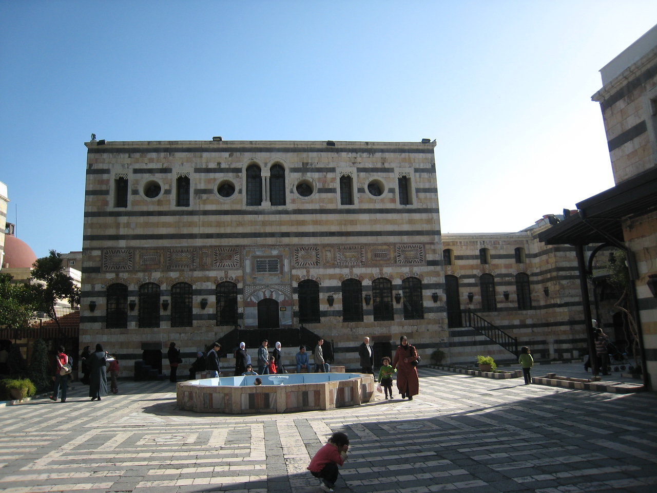 Fountain in the main courtyard at Azem Palace