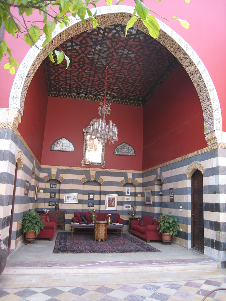 One end of the courtyard at the Talisman Hotel in Damascus.