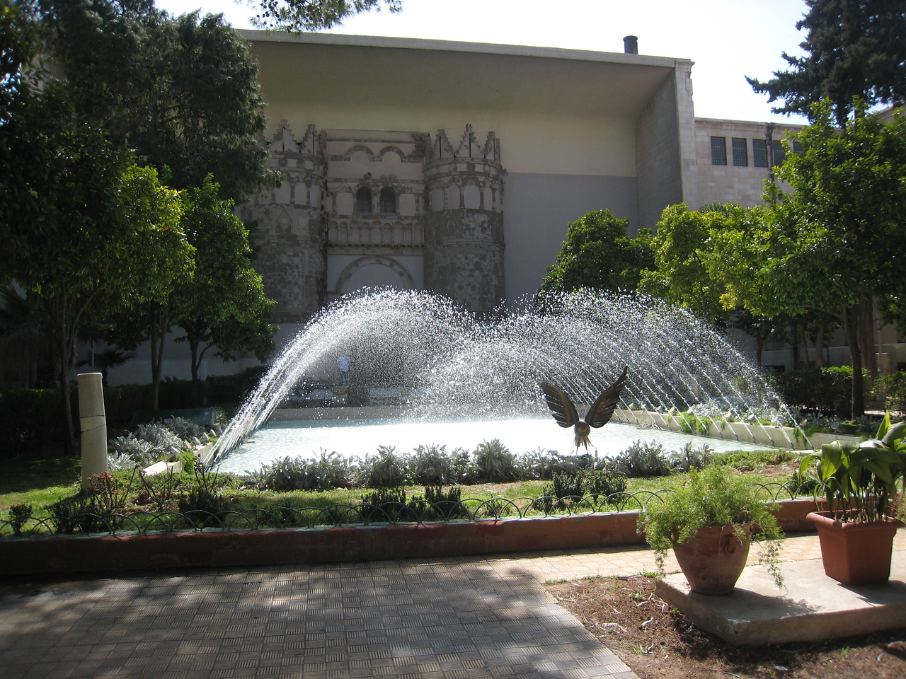 The water feature in the garden of the National Museum.  We sat and had a coffee and enjoyed the atmosphere after a long morning in the museum.  The highlight of the museum is a reconstructed synagogue which was moved section by section (not unlike Abu Simbel) to the museum.  Its unique in that it has frescos showing human figures, depiction of the human form in Talmadic tradition is banned.
