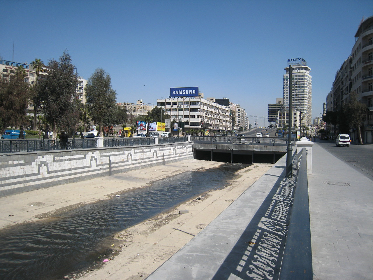All that remains of the Barada River in central Damascus.