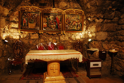 The interior of the Chapel of Ananias.  Tradition has it that Ananias cured St Paul of his blindness.