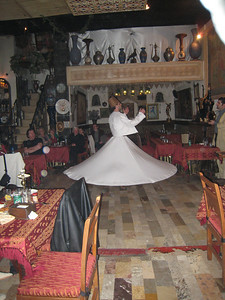 Whirling dervish at the Palace restaurant in Damascus.