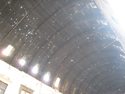 The holes in the roof of the souq were made by machine gun fire from French warplanes in 1925.