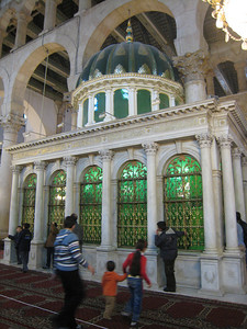 Inside this shrine in the Umayyed Mosque is the severed head of John the Baptist who is honoured as a prophet by both Christians and Muslims.  In 2001 Pope John Paul II visited the mosque to visit the relics of John the Baptist.  This was the first time a pope had paid a visit to a mosque.