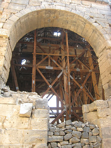 Repair work underway in Bosra.