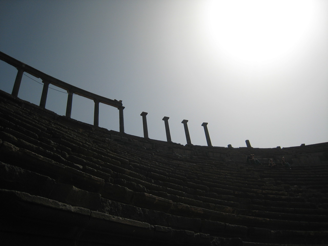 "Looking up into the ""cheap seats"" at the Roman theatre in Bosra."