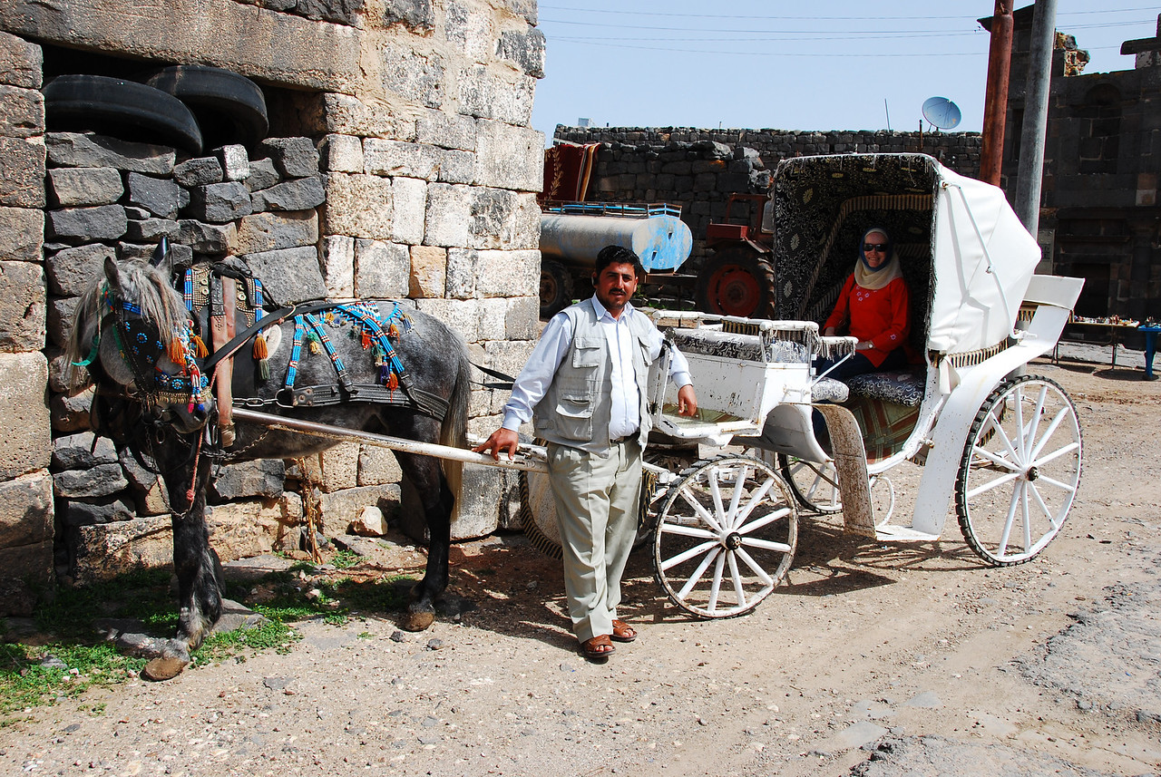 Osama, who was our guide round Bosra and his firey steed Abu Leyl.