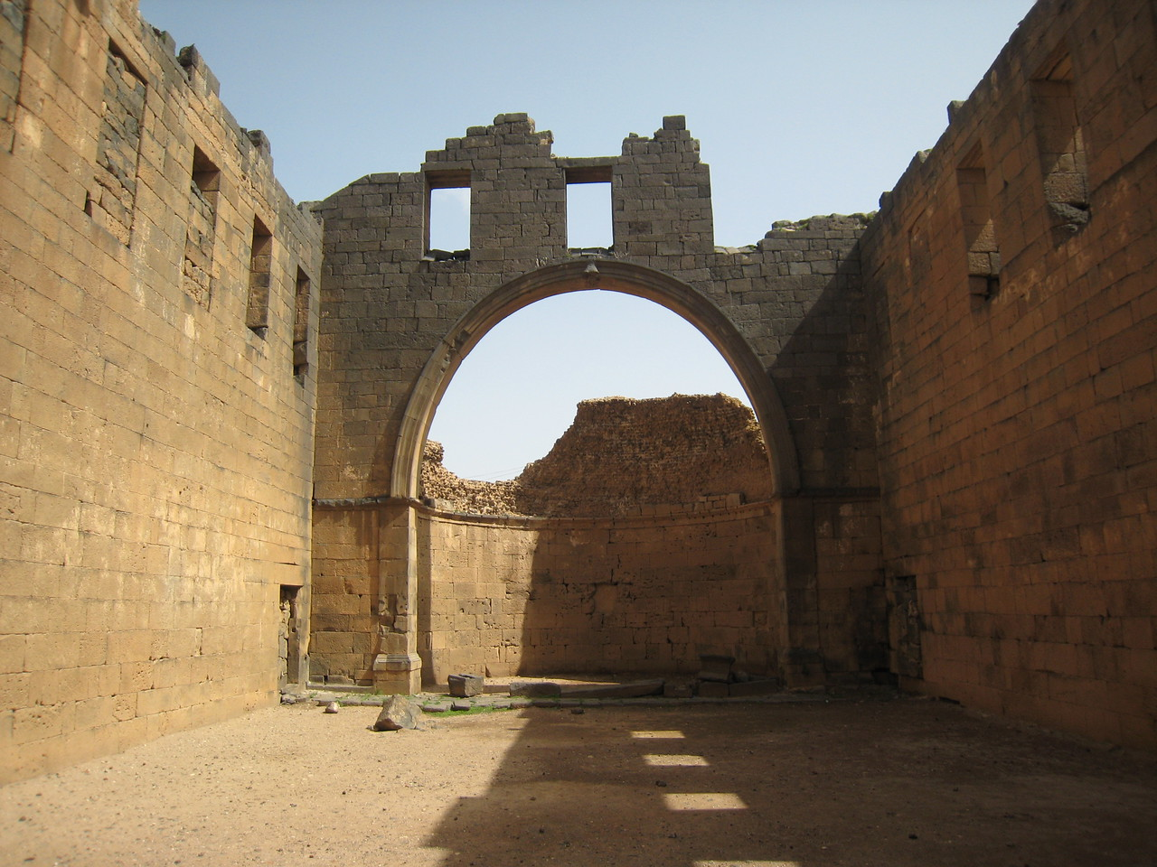 Interior of the basilica at Bosra.  Tradition has it that a Nestorian monk Bahira met the prophet  Mohammad (pbuh) when the Prophet was around 12 years of age when the prophet was accompanying his uncle on a business trip with a a camel train. Nestorian foretold that the Prophet would have a great future.