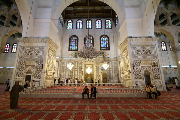 Umayyad Mosque, Damascus. That is Erwin and Saad sitting on the steps.