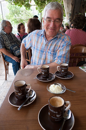 "Damascus: TWO double espressos (becomes four singles) with side serve of ""milk"""