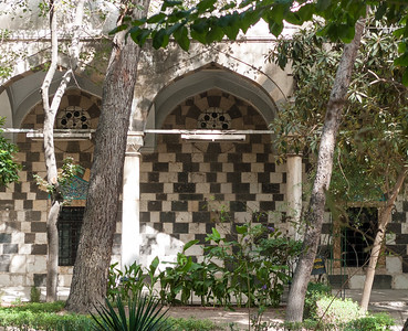 Damascus: Tekkiyeh as-Sulemaniyeh Mosque area -   intriguing Mamaluke pattern