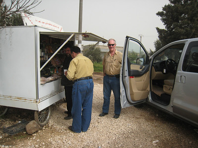 Coffee on the road, our driver Taisser on the left and Colin on the right.