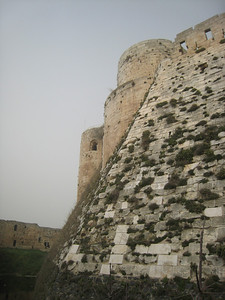 The wall on the right called a glacis was originally smooth to prevent attackers climbing up it (same as Kerak Castle in Jordan)