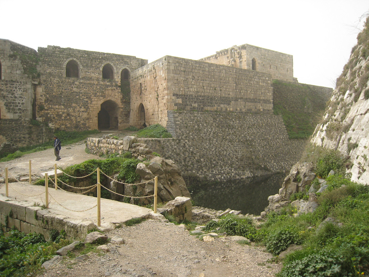 Inside the castle between the outer and inner walls.