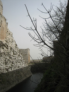 Interior wall of the castle which is constructed so there are two rings of defences with a moat between.
