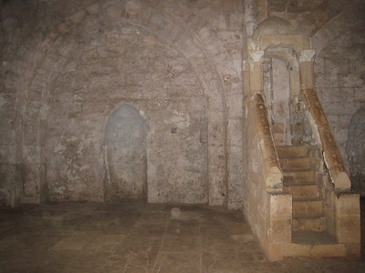 Inside the 11th century chapel that was converted into a mosque when the Mamluks occupied the castle  The pulpit accessed by stairs on the right is called the minbar.  The niche in the wall in the centre indicates the direction of Mecca.