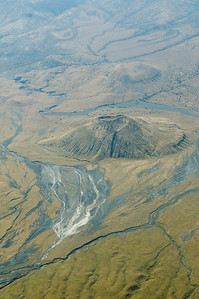 Landscape from plane, Volcano, crater