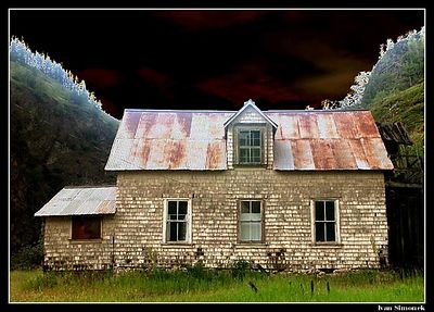 """UNREAL REALITY"", one of abandoned houses in Telegraph Creek, B.C., Canada, (solarized).-----""NESKUTECNA SKUTECNOST"", jeden z opustenych domku v Telegraph Creek, B.K., Kanada, (solarizovano)."